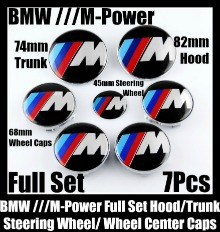 BMW M-Power 7Pcs Emblems 82mm Hood 74mm Trunk 68mm Wheel Center Caps 45mm Steering Wheel Horn in Full Set M3 M5 M6 ///M
