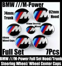 BMW M-Power 7Pcs Emblems 82mm Hood 74mm Trunk 68mm Wheel Center Caps 45mm Steering Wheel Horn in Full Set M3 M5 M6 ///M